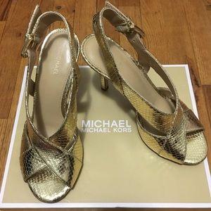 MICHAEL Michael Kors Becky Metallic Leather Heels